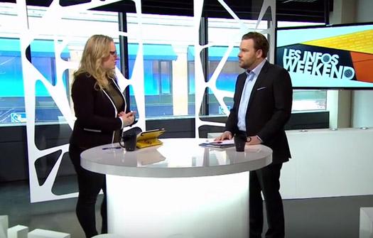 Maxime Laporte of the Quorum Group interviews at V Télé