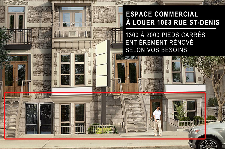 Espace commercial à louer 1063 rue St-Denis