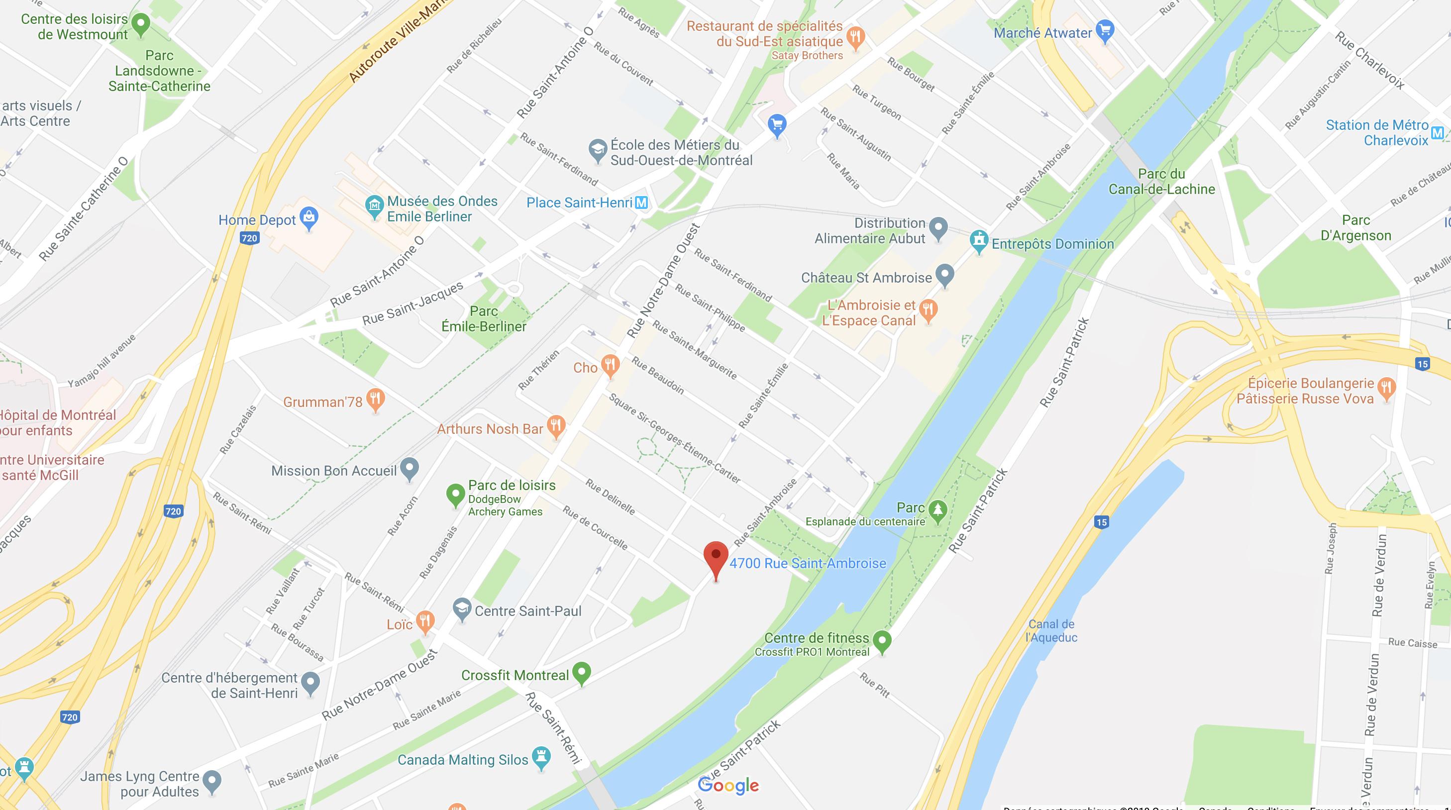 Carte Galdin 4700 rue St-Ambroise, Montréal H4C 2C7